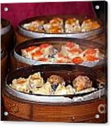 Bamboo Steamers With Dim Sum Dishes Acrylic Print