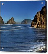 Bandon Sea Stacks In The Surf Acrylic Print by Adam Jewell