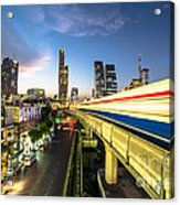 Bangkok Sky Train Rush Acrylic Print