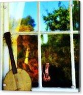 Banjo Mandolin In The Window Acrylic Print