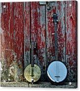 Banjos Against A Barn Door Acrylic Print