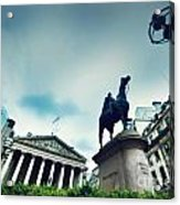 Bank Of England The Royal Exchange And The Wellington Statue Londonuk Acrylic Print