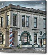 Bank To Barbershop Acrylic Print by MJ Olsen