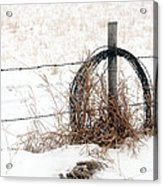 Barbed Wire Fence Post Acrylic Print