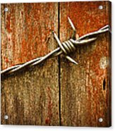Barbed Wire On Wood Acrylic Print