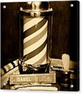 Barber - Barber Pole - Black And White Acrylic Print