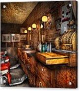 Barber - Closed On Sundays Acrylic Print by Mike Savad