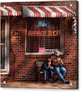 Barber - Metuchen Nj - Waiting For Mike Acrylic Print by Mike Savad