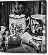 Barber - Shaving Mugs And Brushes In Black And White Acrylic Print