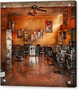 Barber - Union Nj - The Modern Salon  Acrylic Print by Mike Savad