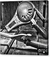 Barber - Vintage Hair Care In Black And White Acrylic Print