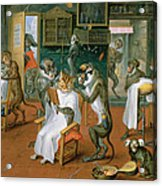 Barbers Shop With Monkeys And Cats Oil On Copper Acrylic Print