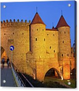 Barbican At Night In The Old Town Of Warsaw Acrylic Print