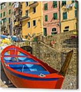 Barca Rossa A Rio Maggiore Acrylic Print