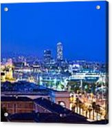 Barcelona And Its Skyline At Night Acrylic Print