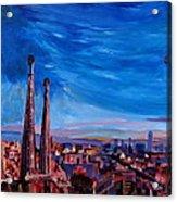 Barcelona City View And Sagrada Familia Acrylic Print