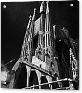 barcelona open topped bus city tour going past Sagrada Familia Barcelona Catalonia Spain Acrylic Print