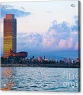 Barcelona Skyline From Sea Acrylic Print