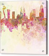 Barcelona Skyline In Watercolour Background  Acrylic Print