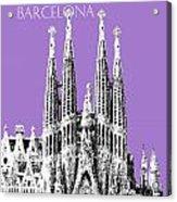Barcelona Skyline La Sagrada Familia - Violet Acrylic Print