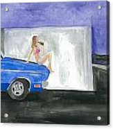 barefoot girl sittin' on the hood of a Dodge Acrylic Print by Jeremiah Iannacci