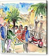 Bargaining Tourists In Siracusa Acrylic Print