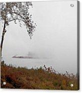 Barge In Fog On Ohio River Acrylic Print