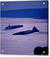 Barges On The Mississippi Acrylic Print