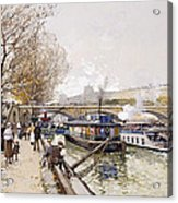 Barges On The Seine Acrylic Print by Eugene Galien-Laloue