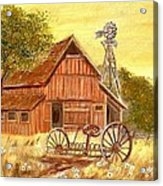 Barn  -  Windmill  -  Old Rake Acrylic Print by Kenneth  LePoidevin