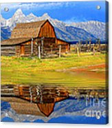 Barn And Teton Reflections. Acrylic Print