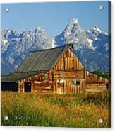 1m9394-barn And The Tetons Acrylic Print