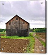 Barn By The Road Square Acrylic Print