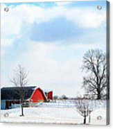 Barn Covered With Snow Acrylic Print by Tina M Wenger