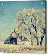 Barn Frosty Trees Acrylic Print by Julie Hamilton