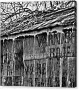 Barn Ghost Sign In Bw Acrylic Print