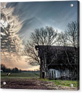 Barn In A Field With A Horse Acrylic Print
