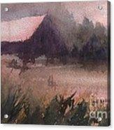 Barn In The Fog Acrylic Print