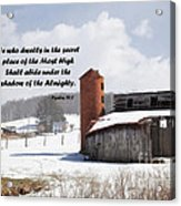Barn In Winter With Psalm Scripture Acrylic Print