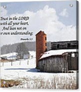 Barn In Winter With Scripture Acrylic Print
