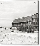 Barn Quebec Province In  Black And White Acrylic Print
