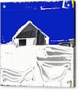 Barn Snow Storm Rc Guss Photo 1951 Collage St. Paul Park Minnesota Color Drawing Added Acrylic Print