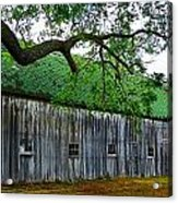 Barn With Brick Silo Acrylic Print by Julie Dant