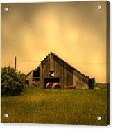 Barn With Hay Bales Acrylic Print