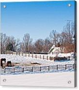 Barn With Horses  Acrylic Print