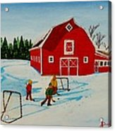 Barn Yard Hockey Acrylic Print