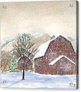 Barns In Winter Acrylic Print