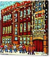 Baron Byng High School St Urbain Street Hockey Montreal Winter Scene Carole Spandau Montreal Artist Acrylic Print