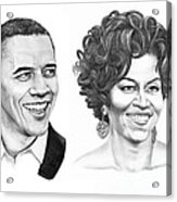 Barrack And Michelle Obama Acrylic Print