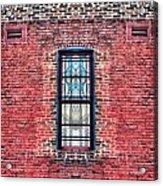 Barred Windows On Brick Acrylic Print
